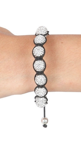 Crystal Shamballa String Bracelet Black w/ Clear Balls - as seen on Katy Perry