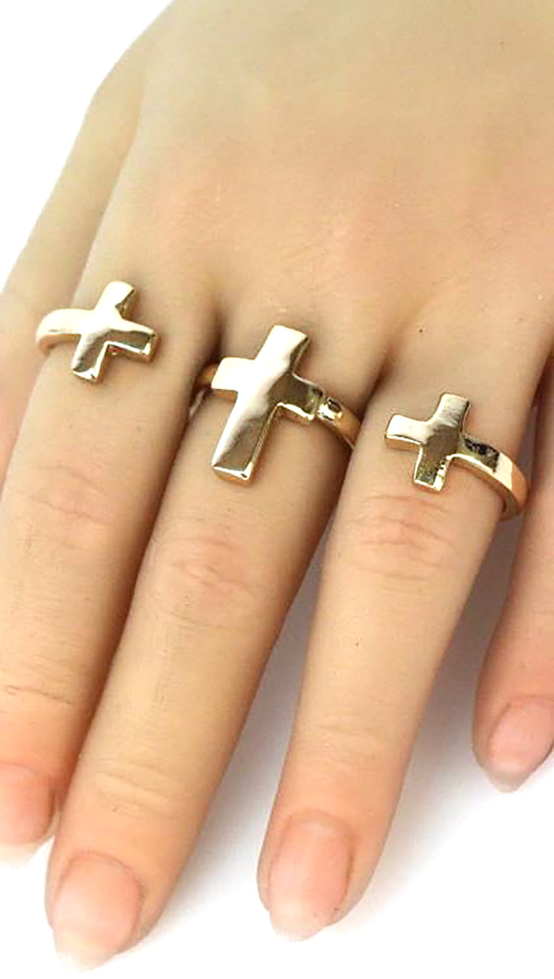 Three Finger Cross Accent Ring in Gold or Silver