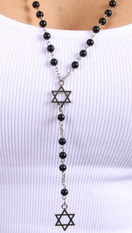 Jewish Rosary Beads Double Star of David in Black