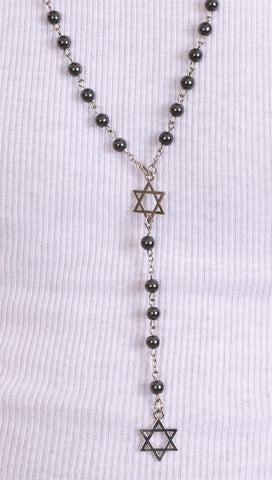 Jewish Rosary Beads Double Star of David in Hematite