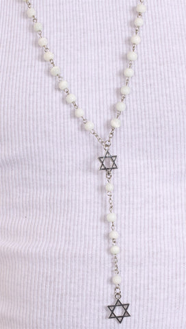 Jewish Rosary Beads Double Star of David in White