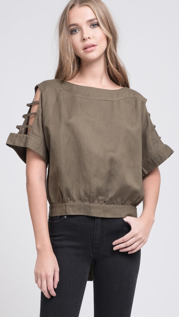 Cut Out Sleeve Blouse Olive