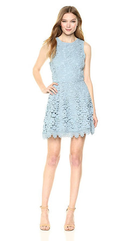 J.O.A. Open Back Scallop Lace Fit Flare Mini Dress Dusty Shale Blue Sleeveless Floral ShopAA
