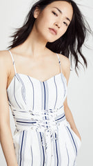 JOA Sleeveless Bustier Jumpsuit Corset Lace Up Belt White Navy Stripes