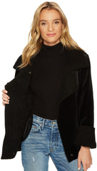 JOA Velour Shearling Moto Biker Jacket Black