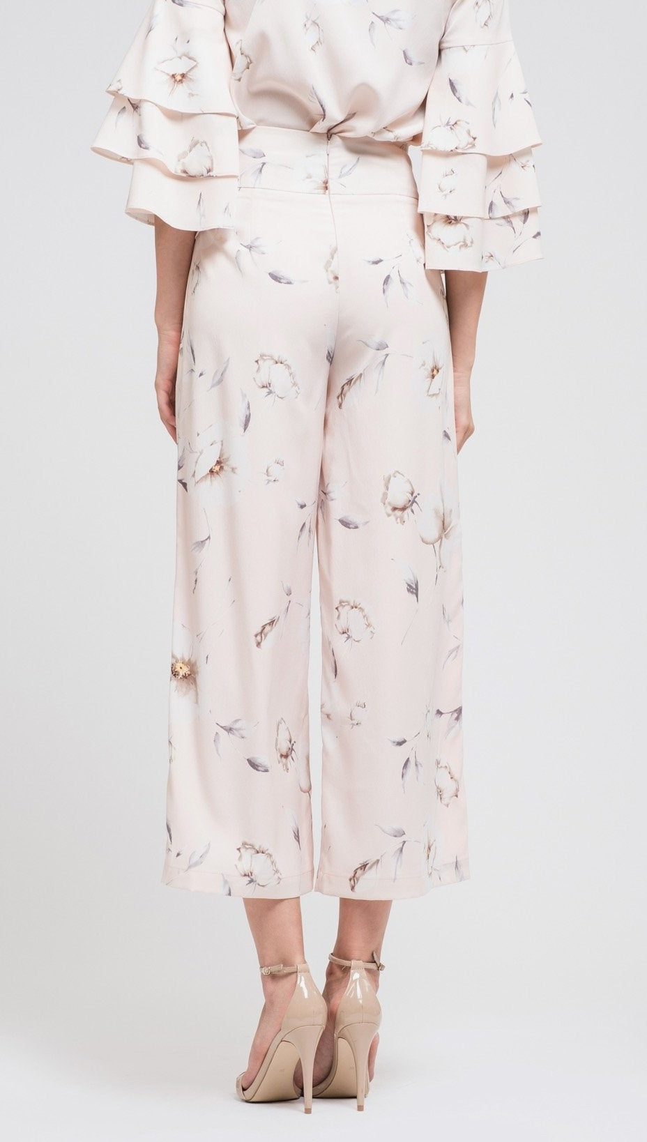 JOA Wide Leg Crop Pants Corset Lace-Up Waist Belt Blush Floral Print