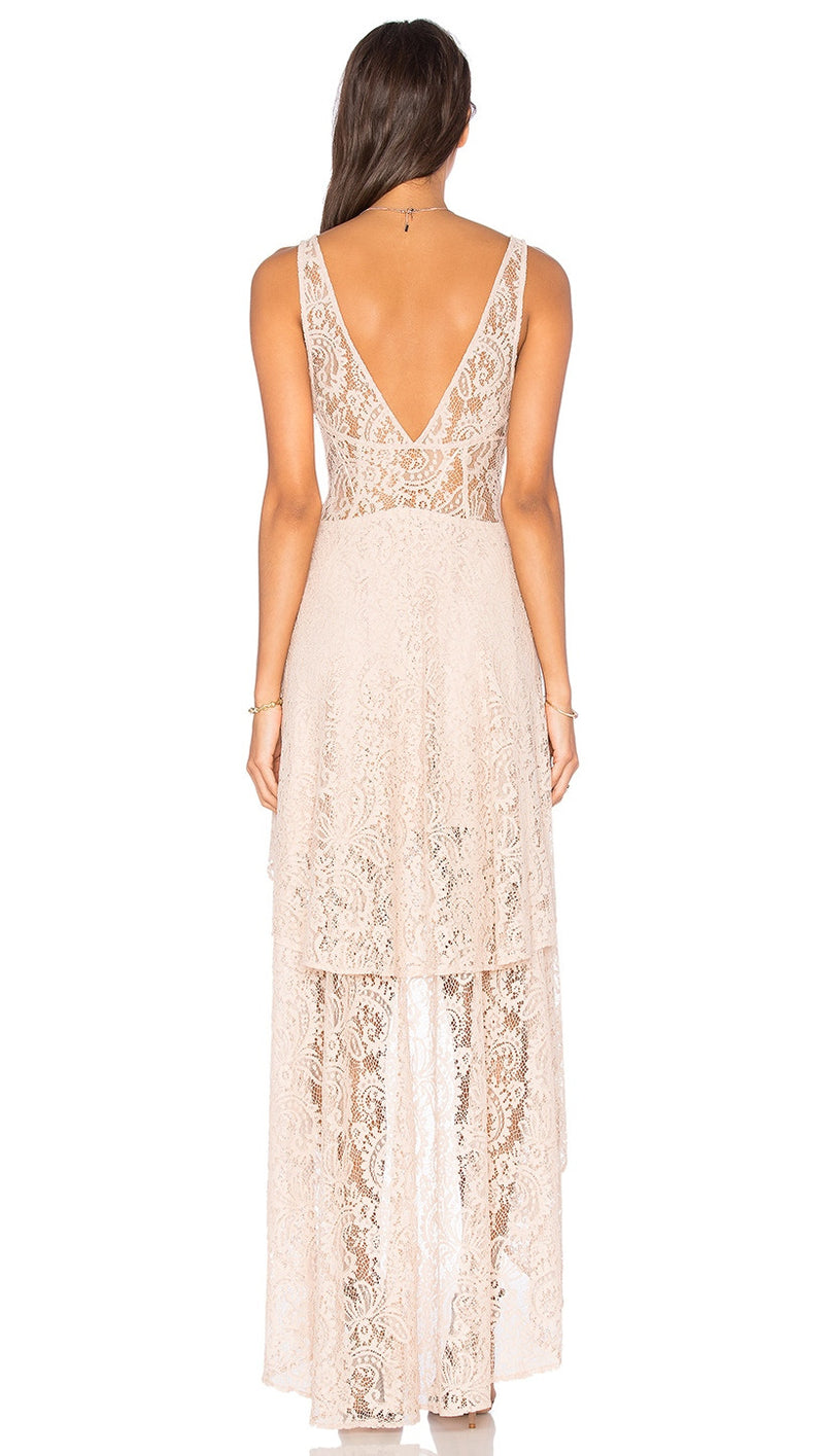 the jetset diaries resort maxi dress nude back