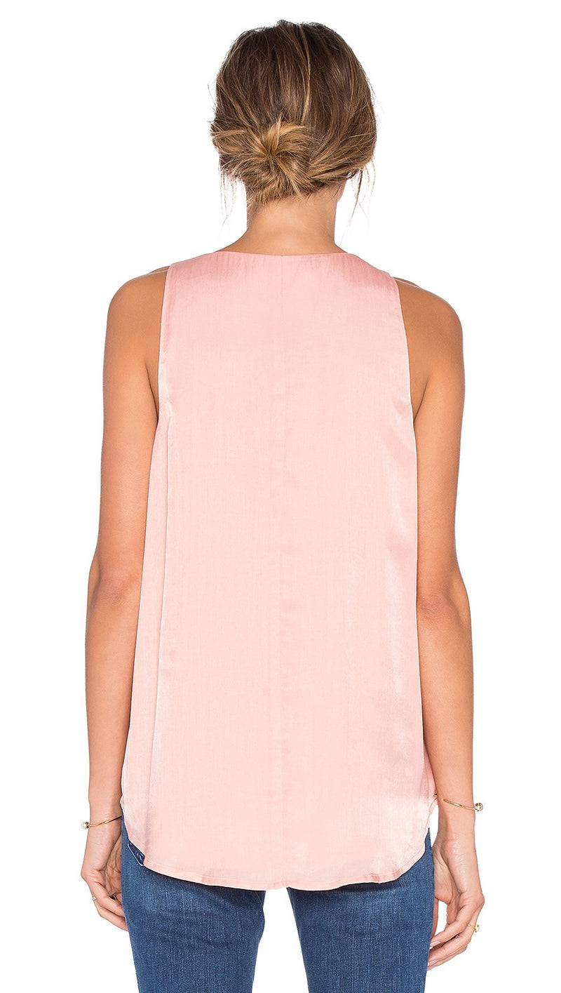 jetset diaries TJD lace up silk tank pink