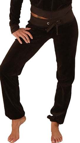Juicy Couture Straight Leg Skinny Velour Pants Granola Brown
