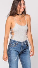 Arden Lace Up Ties Bodysuit in Heather Grey