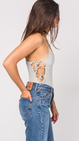 Arden Bodysuit in Heather Grey Lace Up Side Ties ShopAA