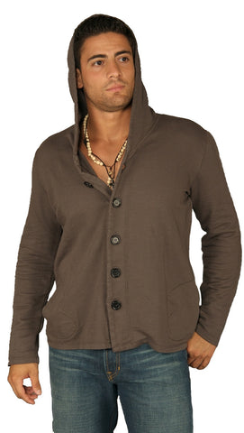 Kanvis Mens Button Down Hoodie Blazer Cardigan Sweatshirt Charcoal Grey