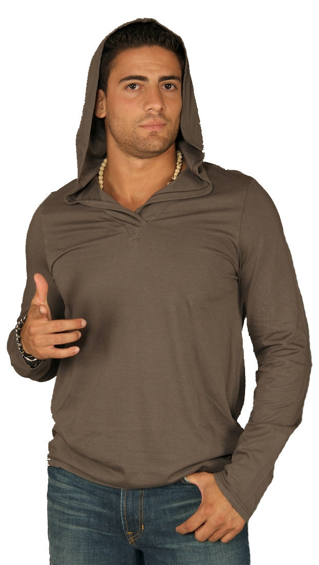 Kanvis Mens V Neck Long Sleeve Soft Thin Tee Shirt Hoody Charcoal Grey