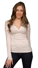 Kanvis Womens V Neck Hooded Long Sleeve Soft Thing Tee Shirt Stone Beige