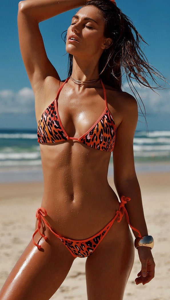 Chynna Dolls Animal Print String Bikini w/ Orange Shimmer Trim