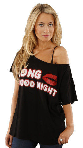 Kid Dangerous Long Kiss Goodnight Off Shoulder Oversized Tee Shirt Black