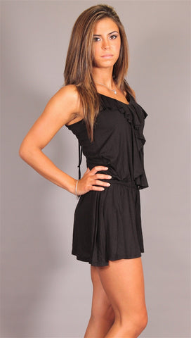 Kimberlina Couture Simple Ruffle Romper in Black