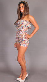 Kimberlina Couture Floral Tube Romper in Brown