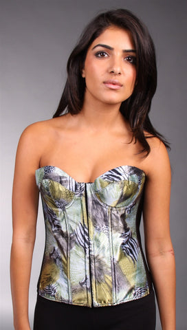 Kimikal Assorted Animal Print Corset in Green