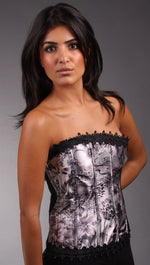 Kimikal Lace Trim Corset in Grey