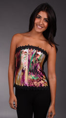 Kimikal Lace Trim Corset in Multicolor