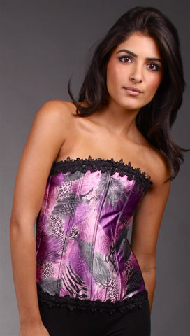 Kimikal Lace Trim Corset in Purple Animal Print