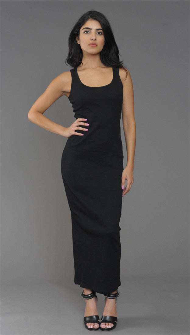 Kimberlina Ribbed Tank Maxi Dress in Black