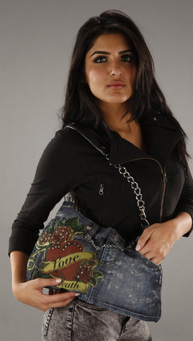 Kimikal Love To Death Patch Denim Chain Purse