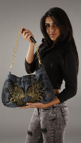 Kimikal Gold Wing Denim Chain Purse