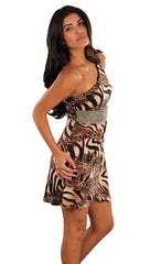 Kimikal One Shoulder Metallic Rhinestone Belt Dress in Animal Print Brown Shades