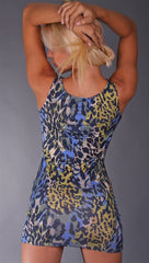 Kimikal Cowl Neck Dress w/ Studded Strip in Blue Camo