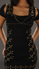 Kimikal Studded Chain Dress in Black