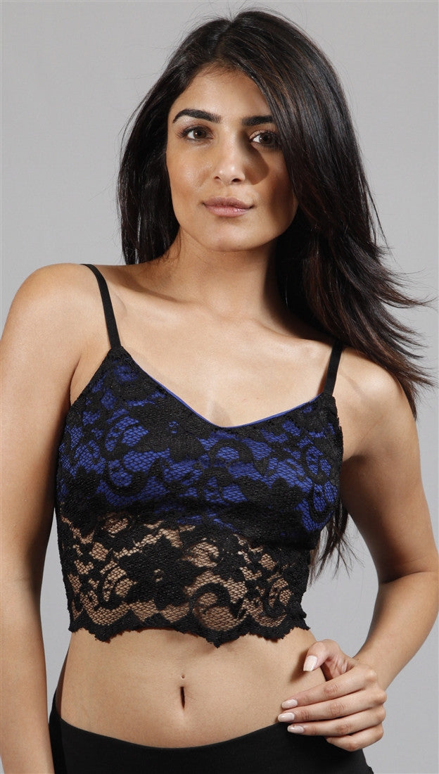 Kimberlina Blue w/ Black Lace Eyelit Bra Crop Top