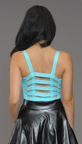 Kimberlina Cage Back Crop Top in Mint