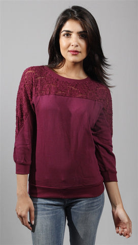 Kimberlina 3/4 Sleeve Top w/ Lace Insert in Burgundy