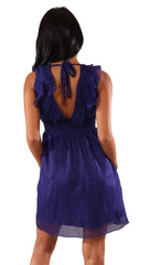 Ya Ruffle V Neck Layer Sheer Mini Dress Royal Blue
