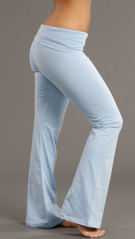 Kinkate Basic Flare Fold Over Legging Pants Baby Powder Blue