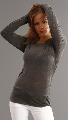 Kinkate Long Sleeve Sheer Burnout Tee in Charcoal