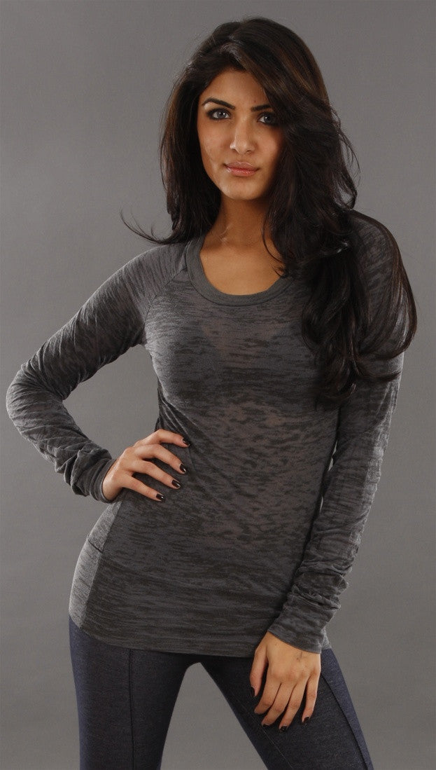 Kinkate Long Sleeve 2 Tone Burnout Tee in Gray