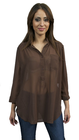 Jessyka Robyn Sheer Buttondown Tunic in Brown