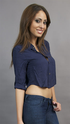 Jessyka Robyn Crop Buttondown in Navy