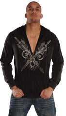 Jessyka Robyn Mens Basement Zip Up Hoody Sword Graphic