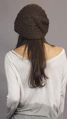 Kinkate Slouchy Beret Crochet Pattern Hat in Brown