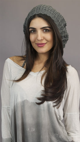 Kinkate Slouchy Beret Crochet Pattern Hat in Grey
