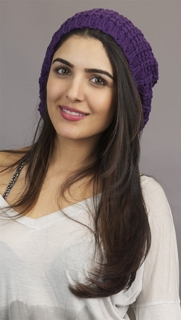 Kinkate Slouchy Beret Crochet Pattern Hat in Purple