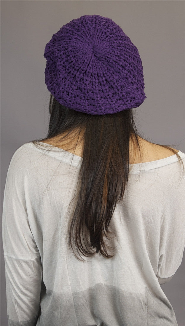 Slouchy Beret Crochet Pattern Hat In Purple From Kinkate Accessories