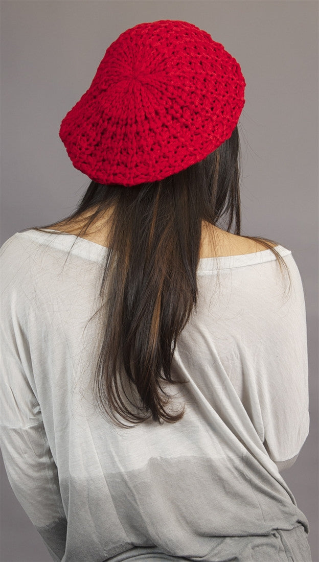 Slouchy Beret Crochet Pattern Hat In Red From Kinkate Accessories