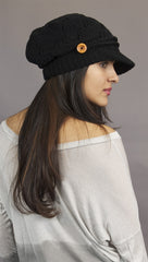 Kinkate Slouchy Beret Knit Brim Hat in Black
