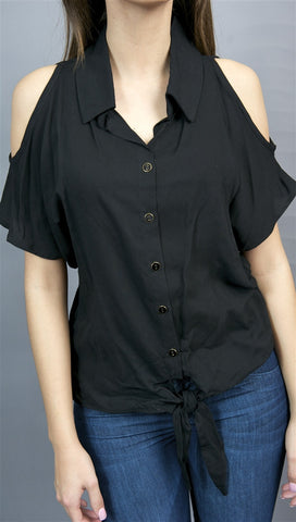 Jessyka Robyn Open Shoulder Tie Buttondown in Black