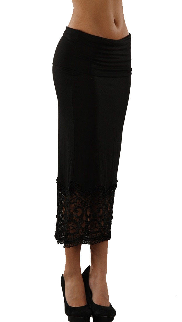 Kinkate Lace Trim Bottom A Line Maxi Long Skirt in Black